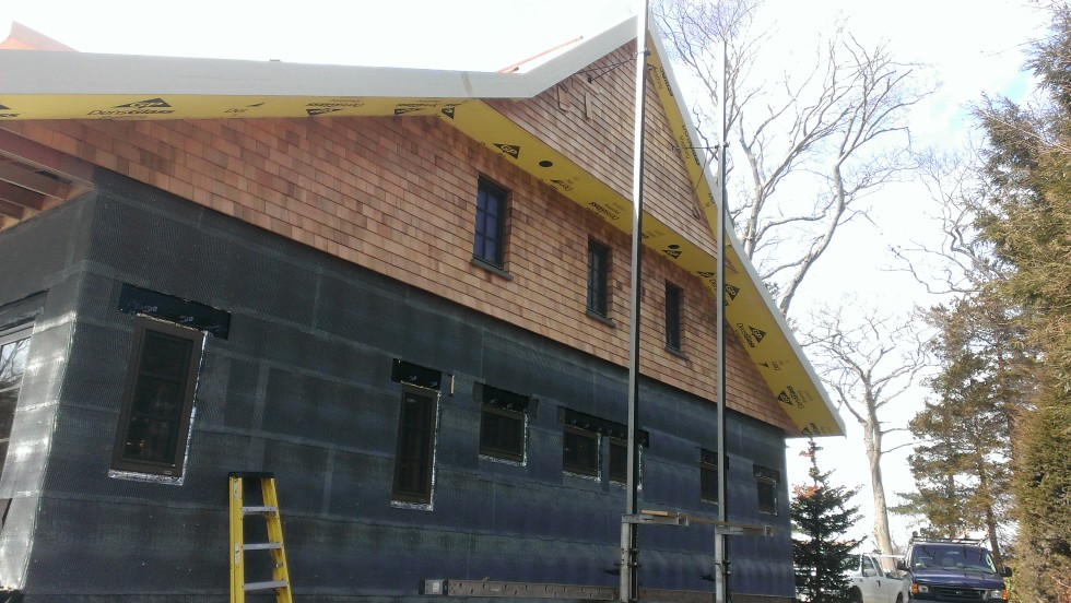 Top of east gabled end all shingled
