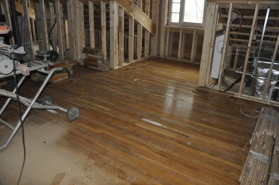 Recycled white oak flooring upstairs